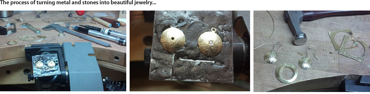 Left: 18K textured domed earrings ready for stone setting. Center: Flush set diamond. Right: Completed set of earrings and hollow 18K saucer ring with flush set diamond. Shown with original cut out 18K gold sheets. Design and fabrication by Daniel Valencia.