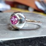 Sphere sterling ring with hot pink sapphire
