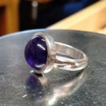 Carved sterling ring with amethyst