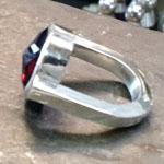 Heavy sterling ring with cushion cut garnet by Zaw Tun