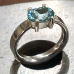 Prong set aquamarine in sterling by Mallory Shelter