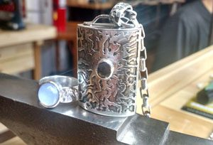 Etched vessel sterling pendant and ring by Vera Meyer